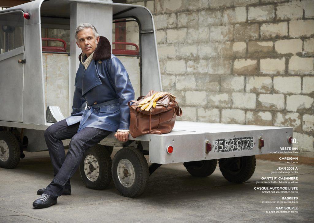 Lookbook Paul Belmondo leather cuir excellence gentleman driver blouson aviateur flying jacket bleu quality qualité