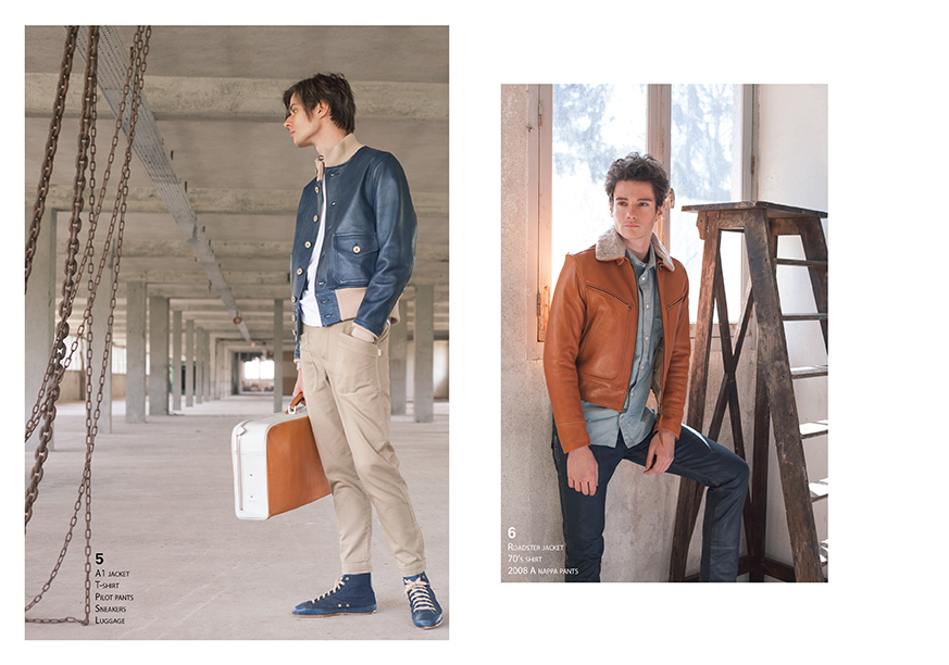 Lookbook CHAPAL Automne-Hiver 2019 nouvelle collection homme man artisanal Made in France hand-made qualité quality blouson aviateur flying jacket élégant leather cuir mouton glacé bleu baskets bleu valise élégant col mouton doré frisé