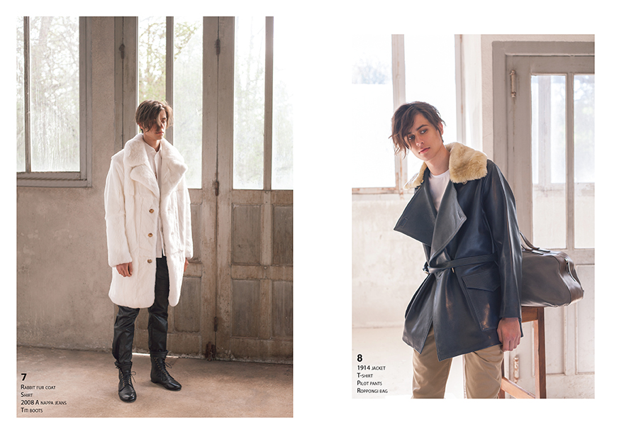 Lookbook CHAPAL Automne-Hiver 2019 nouvelle collection homme man artisanal Made in France hand-made qualité quality blouson aviateur flying jacket élégant leather cuir manteau élégant fourrure de lapin orylag rabbit fur white pantalon veste 1914 mouton glacé bleu com mouton doré