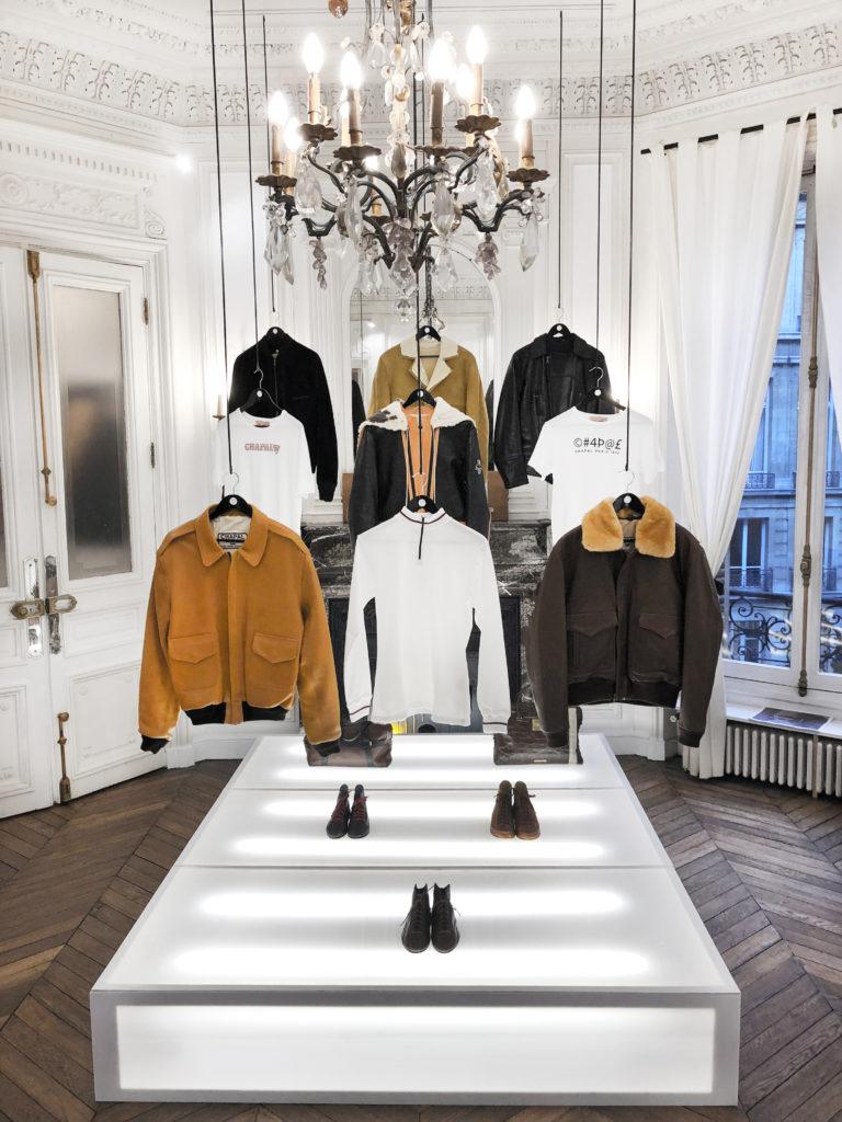 Blouson jaune velours chaussures cuir t-shirt veste envers daim suede noir cuir mouton USAAF col mouton doré