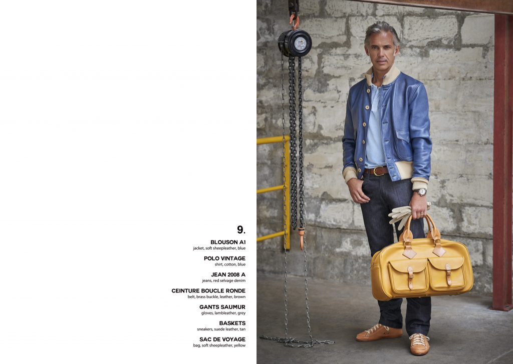 Lookbook Paul Belmondo leather cuir excellence gentleman driver blouson aviateur flying jacket bleu quality qualité