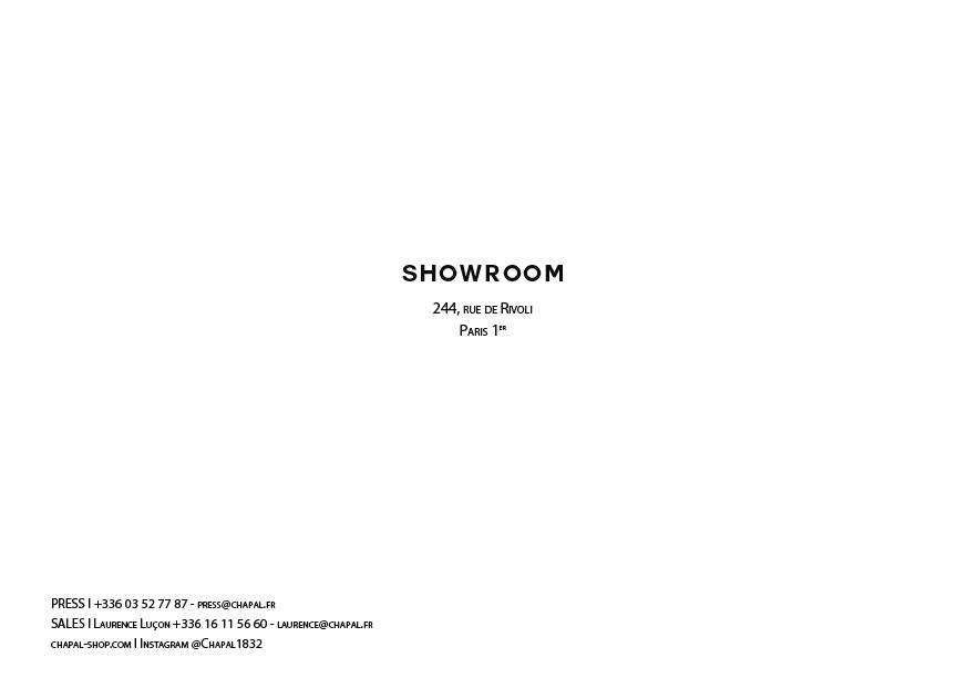 Lookbook CHAPAL Automne-Hiver 2019 Showroom rue de Rivoli