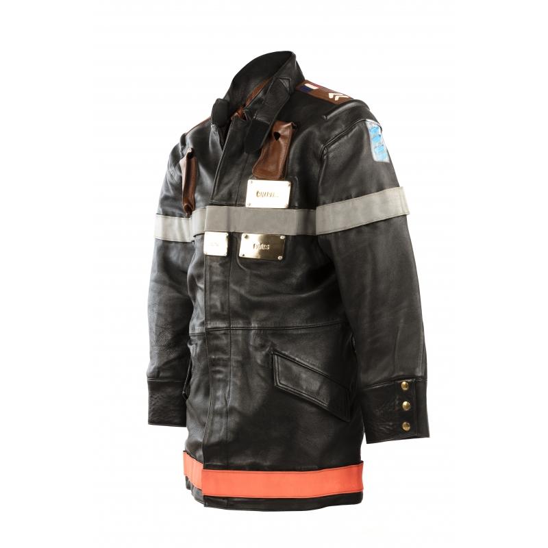 Manteau De Pompier Cuir Bovin Glacé Noir