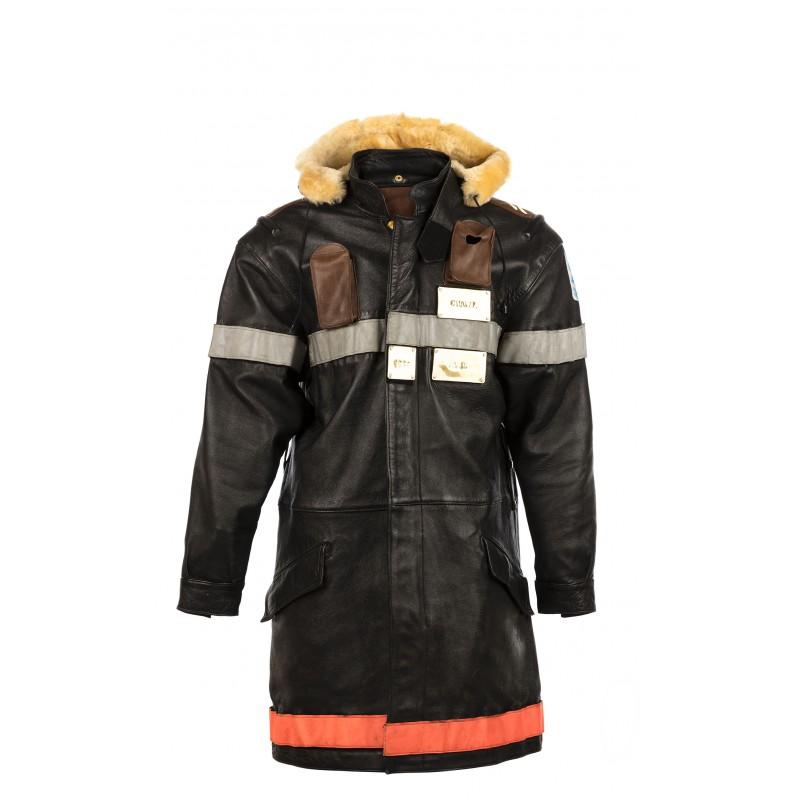 Manteau De Pompier Cuir Bovin Glacé Nior