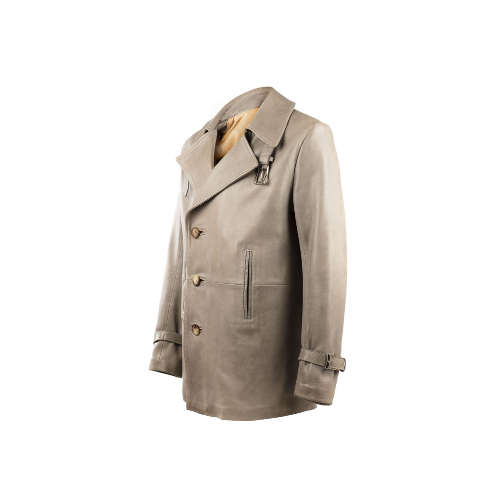 Peacoat 3/4 Jacket - Glossy leather - Grey color