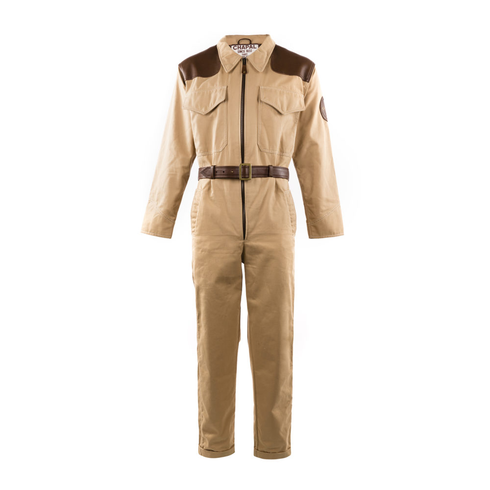 1950 Overall - Gabardine and glossy leather - Beige and brown colors