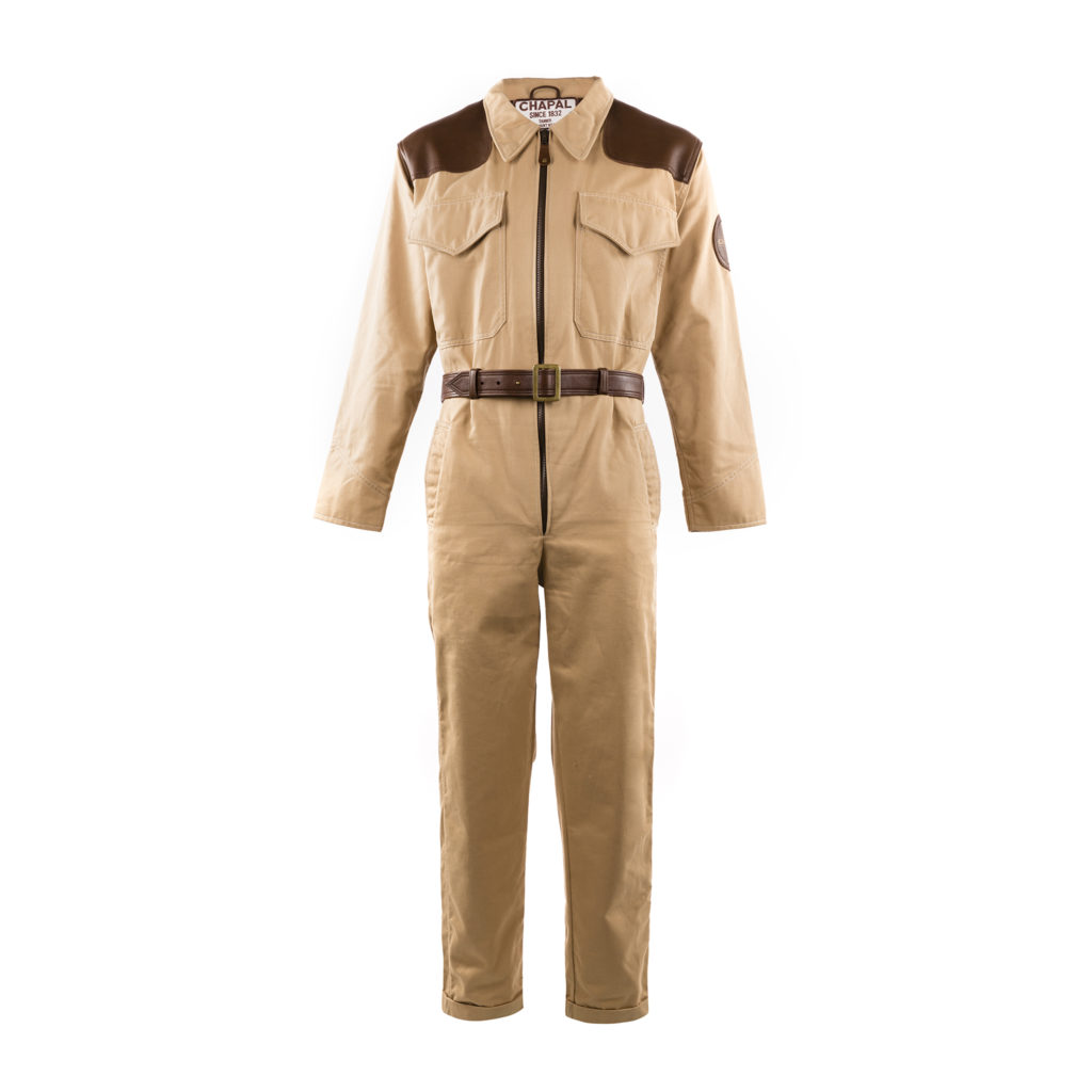 Combinaison 1950 - Gabardine et cuir glacé - Couleurs beige et brun