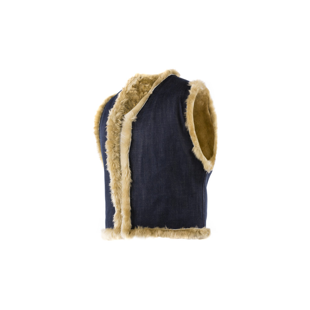 Morrison Vest - Denim canvas and shearling