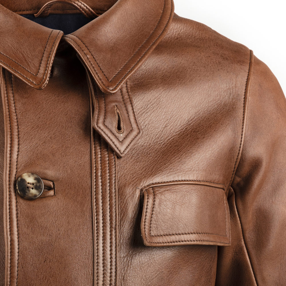 1940 Vest - Glossy leather - Brown color