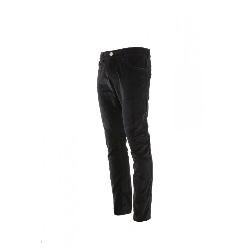 Pantalon Velours Lisse Noir