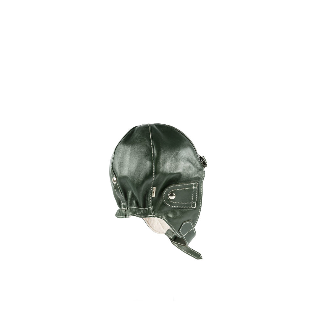 Driver Helmet - Glossy leather - Green color