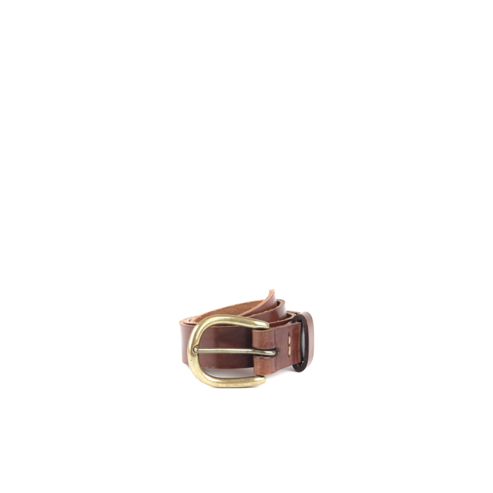 Brass Buckle Belt - Glossy leather - Brown color
