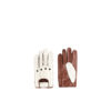 Driver Gloves - Lamb leather - Brown and white colors