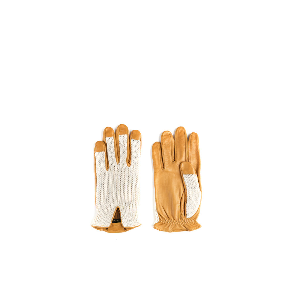 1950 Knitted Gloves - Mesh and glossy leather - Yellow color