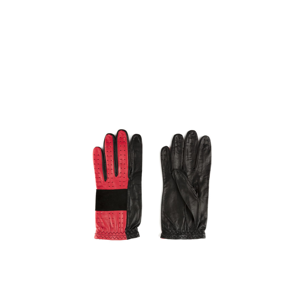 Red & Black Gloves - Kid leather - red and black colors