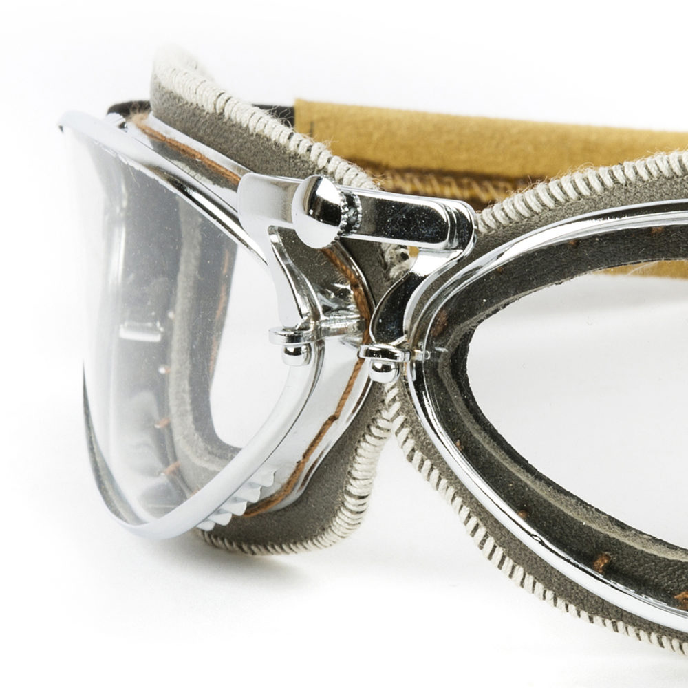 Retro Goggles - Glossy leather - Grey color