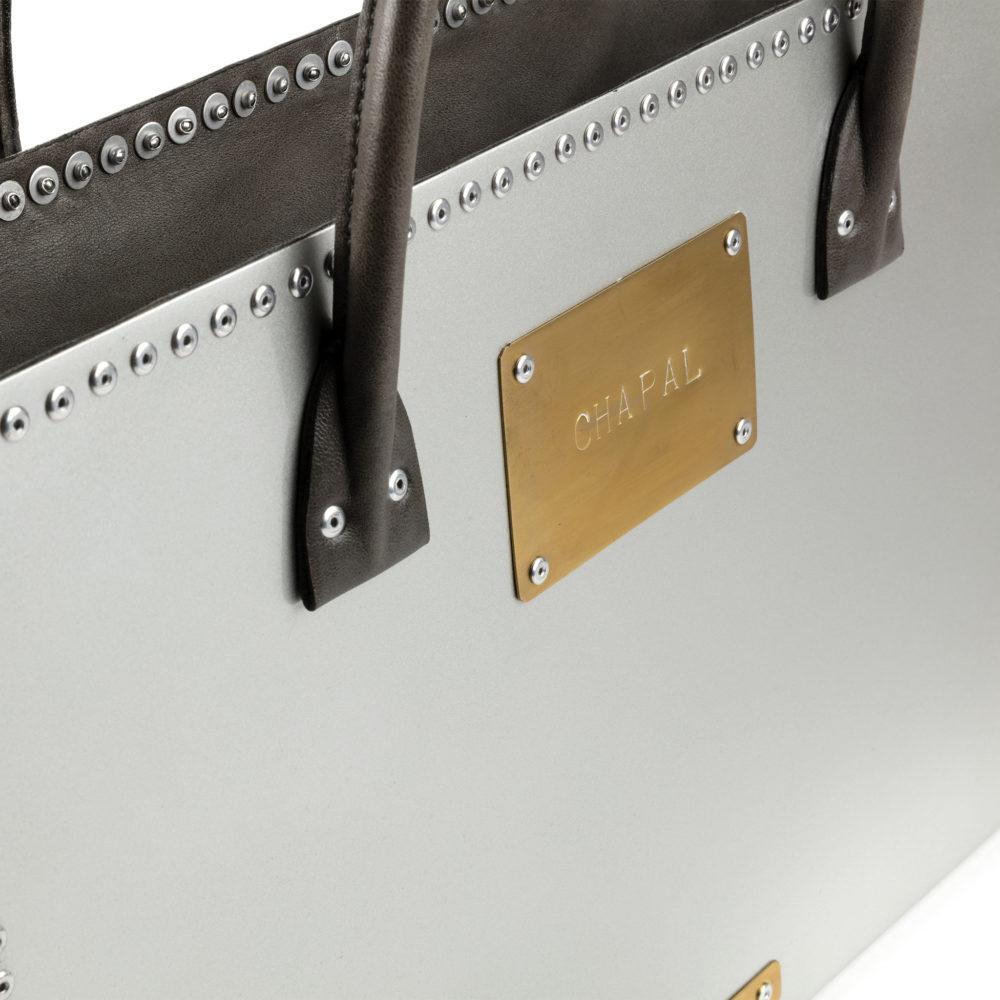 Carpart Suitcase - Aluminium and glossy leather