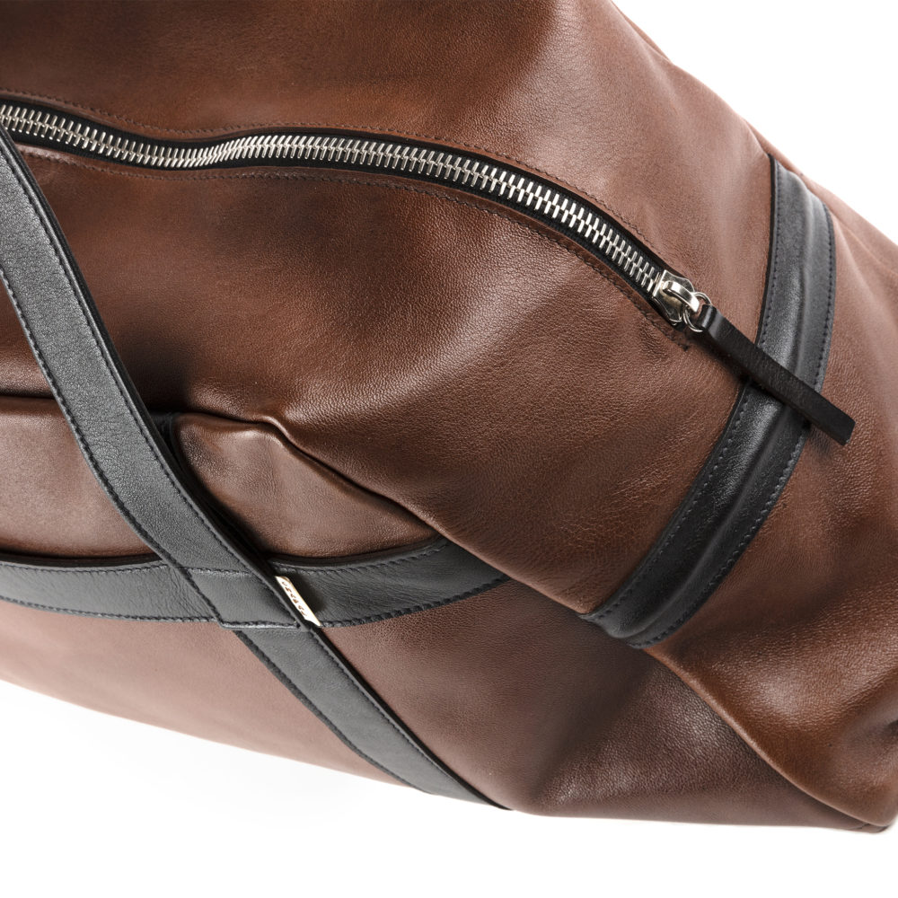 Soft Bag - Glossy leather - Black and brown colors