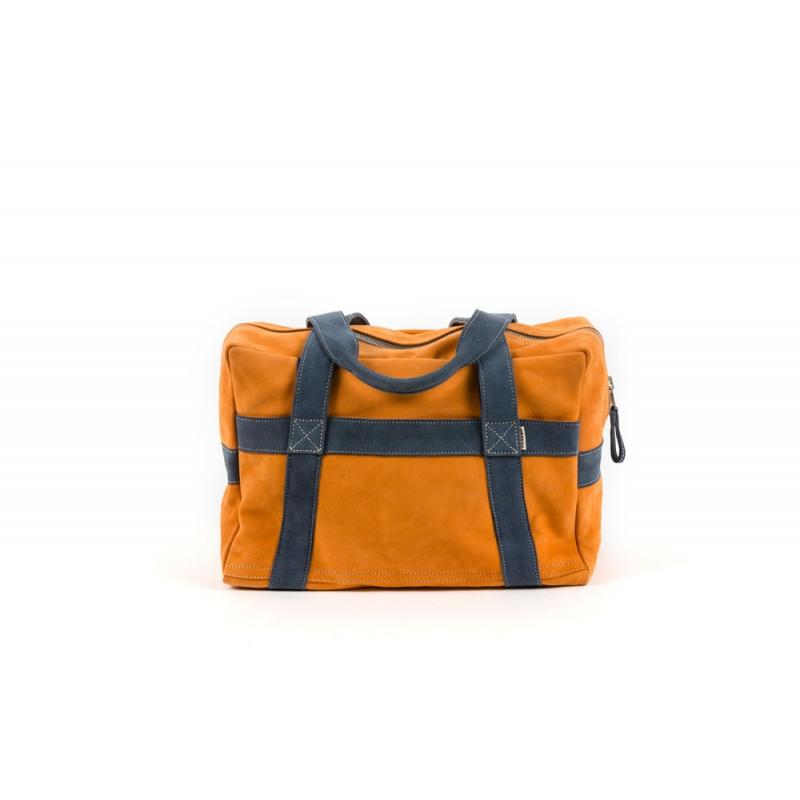Sac souple cuir velours orange et bleu