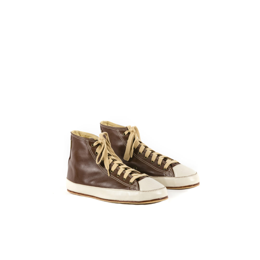 High Sneakers - Glossy leather - Brown color