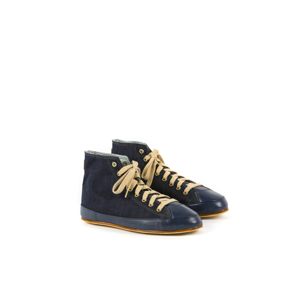High Sneakers - Denim canvas - Dark denim color