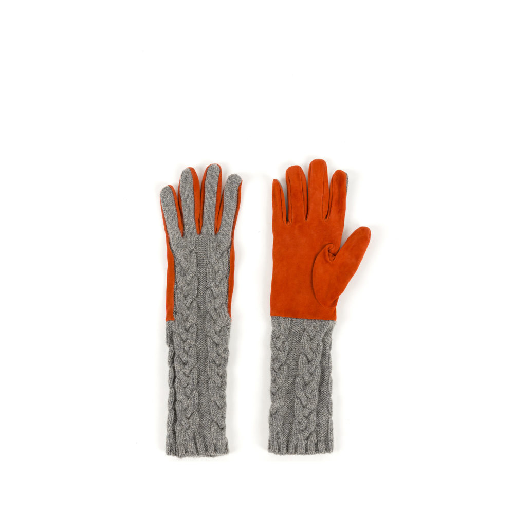 F1 Gloves - Cashmere and suede leather - Orange color