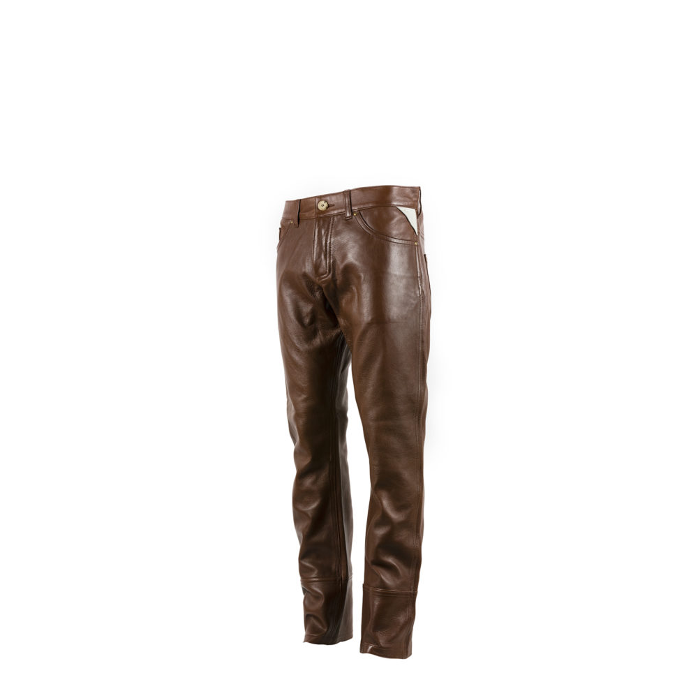Pants 2008A - Glossy leather - Brown color