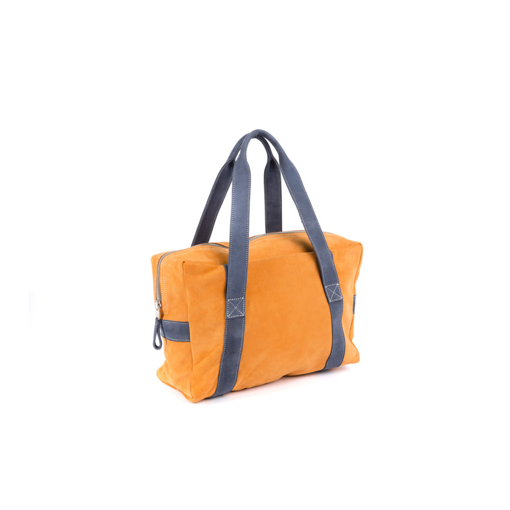 Sac Souple Medium - Cuir velours - Couleurs orange et bleu