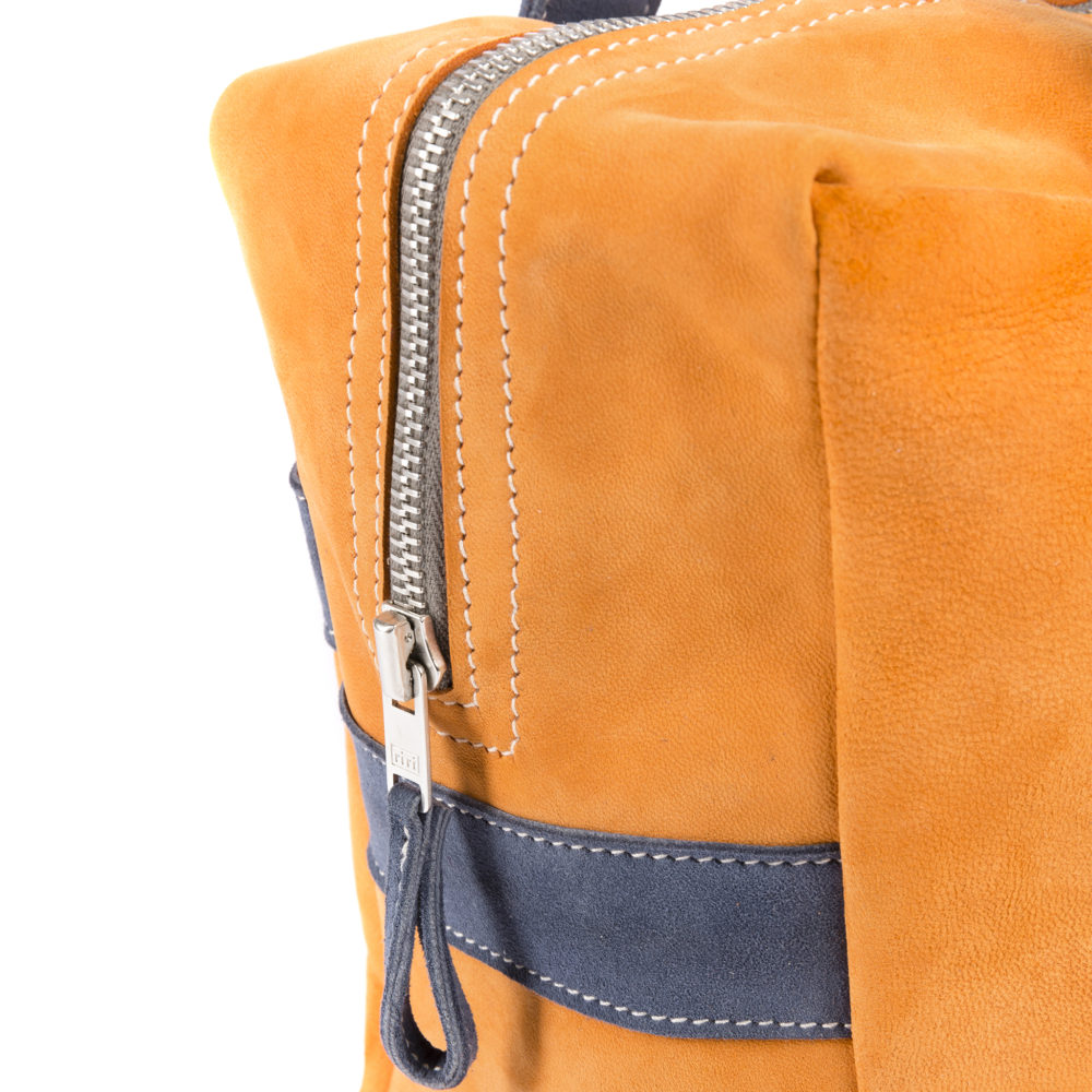Large Soft Bag - Suede leather - Orange and blue colors