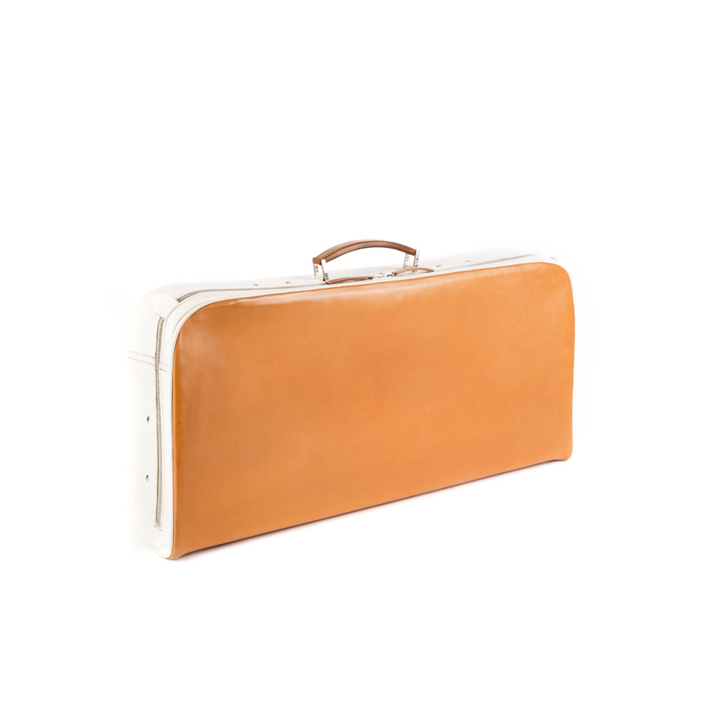 Large Suitcase - Glossy leather - Orange color