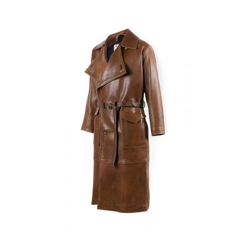 Veste 1914 longue cuir glacé brun