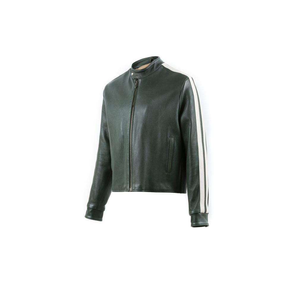 Blouson Anglais Jacket - Glossy leather - Green color - Ecru strips