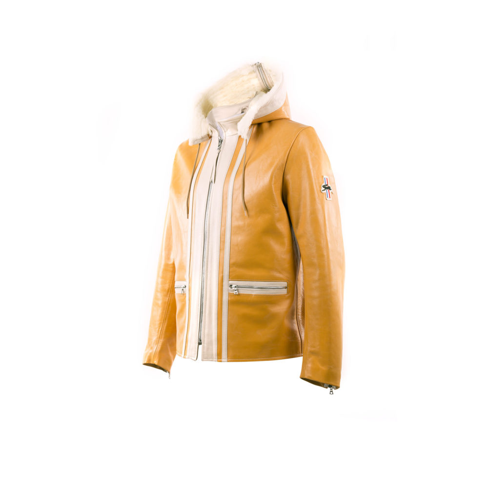 Chapalac Jacket - Lacquered leather - Yellow and ecru colors