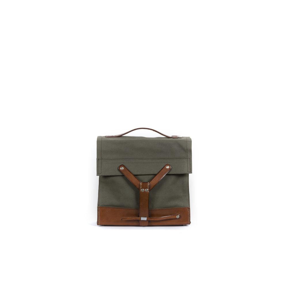 Army Box - Toile de jute et cuir tanné végétal - Couleurs kaki et brun