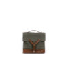 Army Box - Jute canvas and vegetable leather - Kaki and brown colors