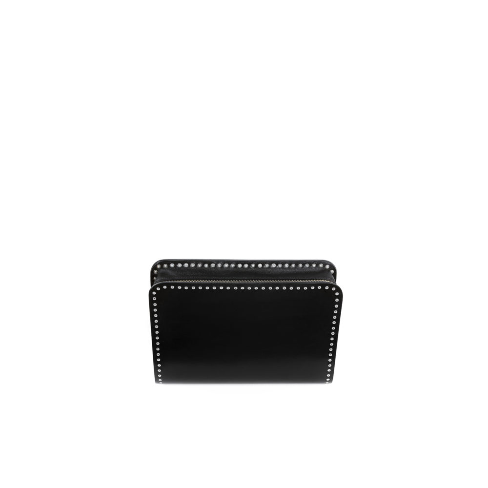 Carpart Clutch - Aluminium and glossy leather - Black color