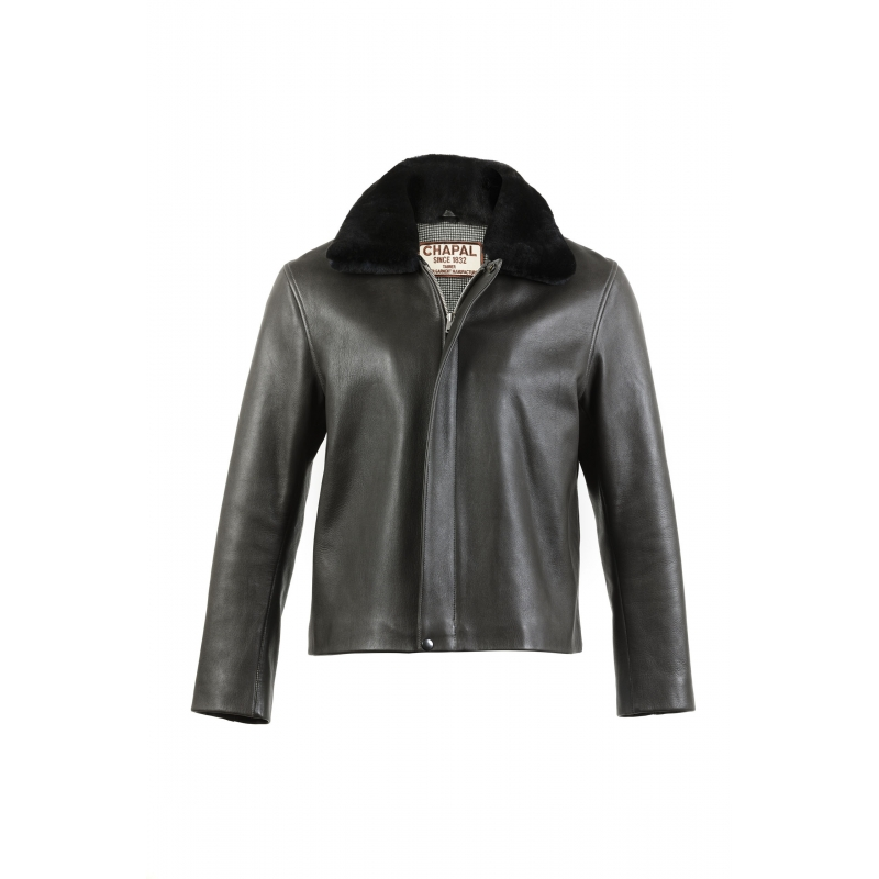 Bomber cuir anthracite
