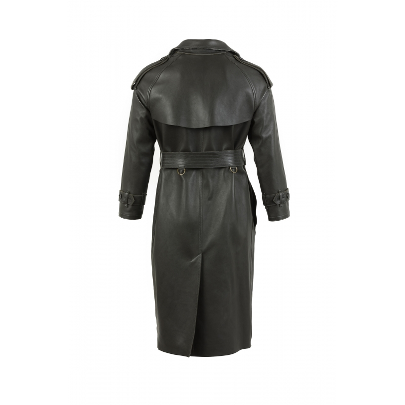 Trench Coat cuir anthracite