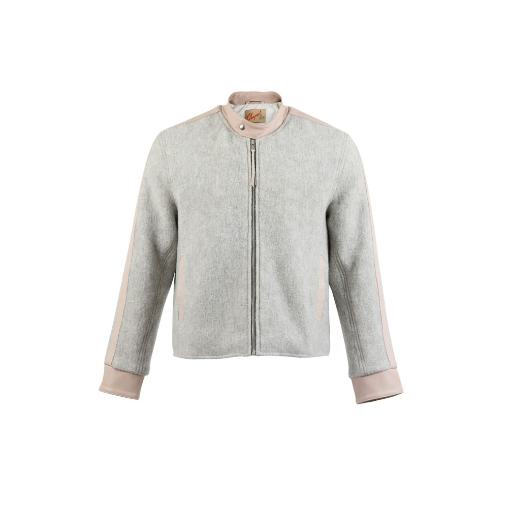 Blouson Anglais Jacket - Merino wool - Grey color - Ecru strips