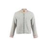 Blouson Anglais Jacket - Merino wool - Grey color - Ecru strips