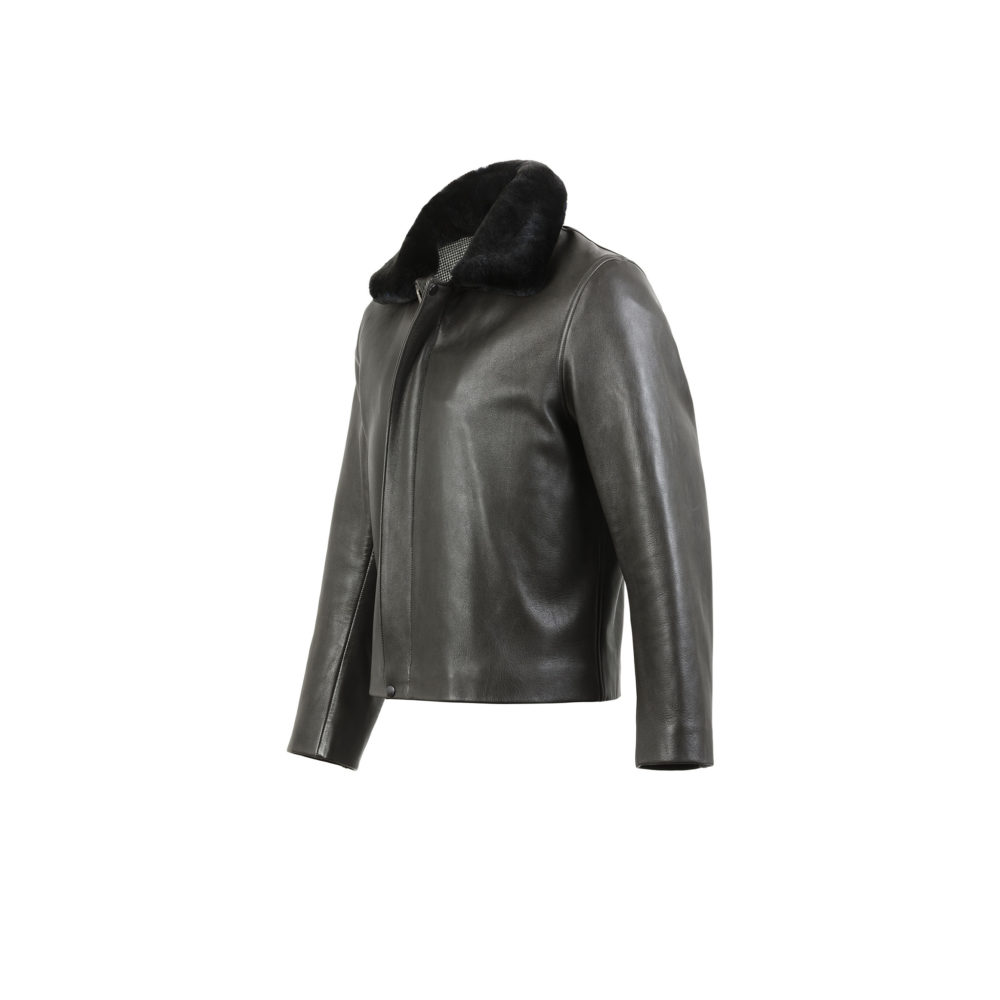 Bomber Jacket - Fox Brothers flannel lining - Glossy leather - Anthracite color
