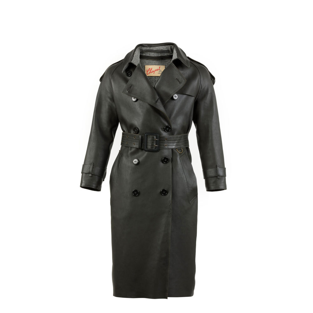 Manteau Trench - Cuir glacé - Couleur anthracite