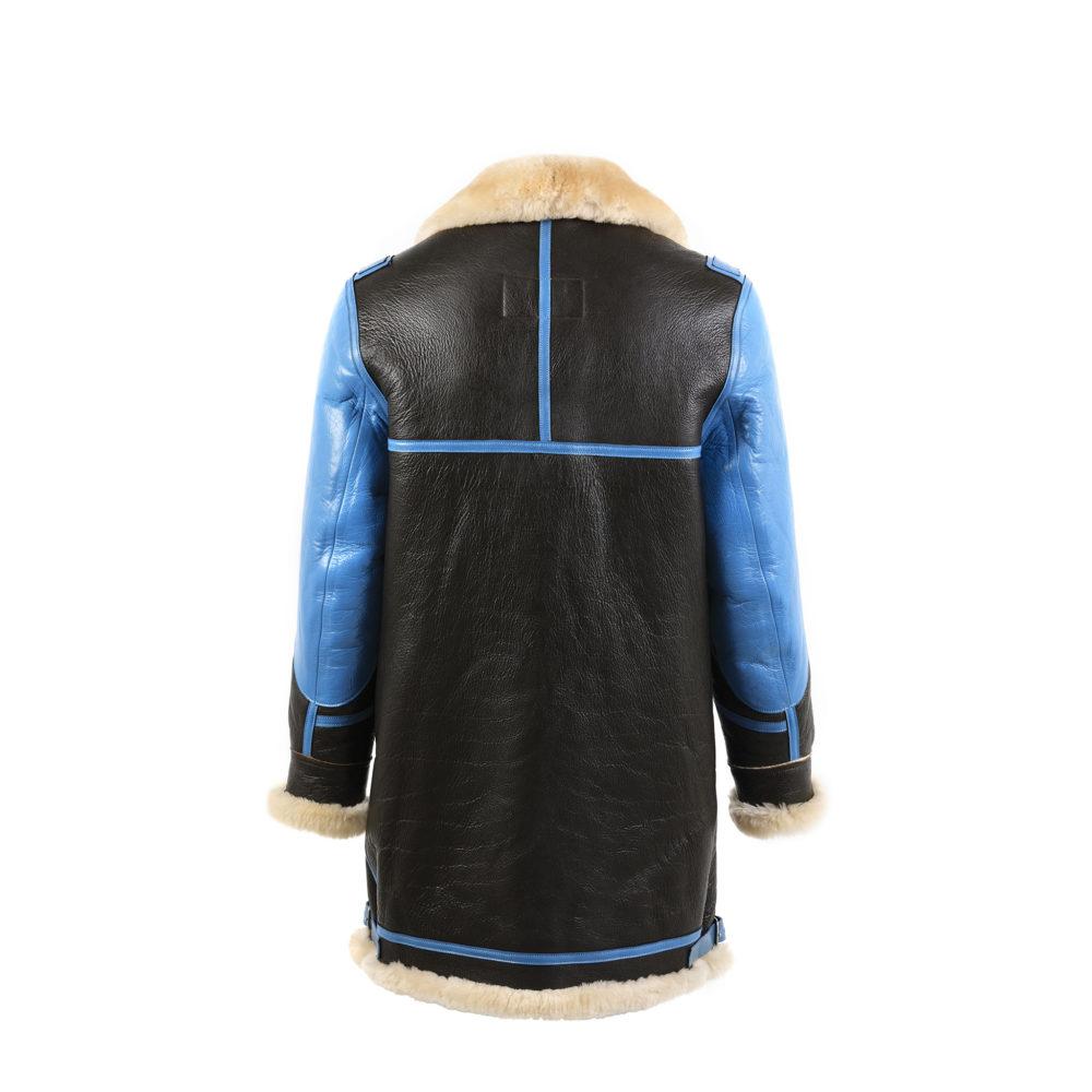 Manteau B3 3/4 - Mouton retourné verni - Couleur bleu