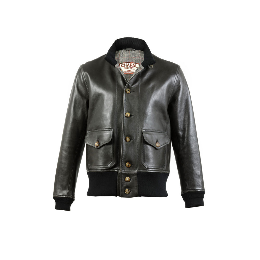 A1 Long Version Jacket - Draper - Glossy leather - Anthracite color