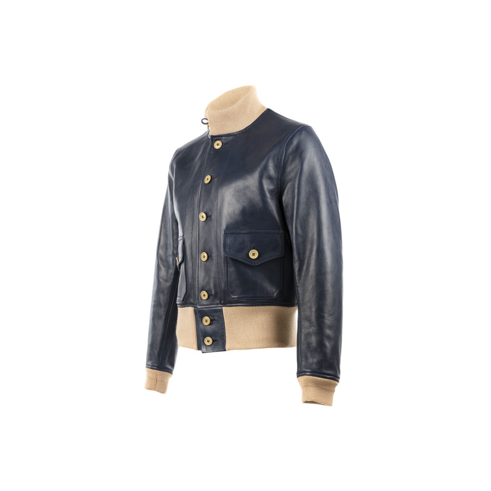 A1 Short Version Jacket - Glossy leather - Blue color