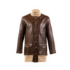 A1 3/4 Coat - Glossy leather - Brown color