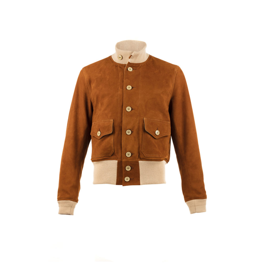 A1 Short Version Jacket - Suede leather - Suzy color