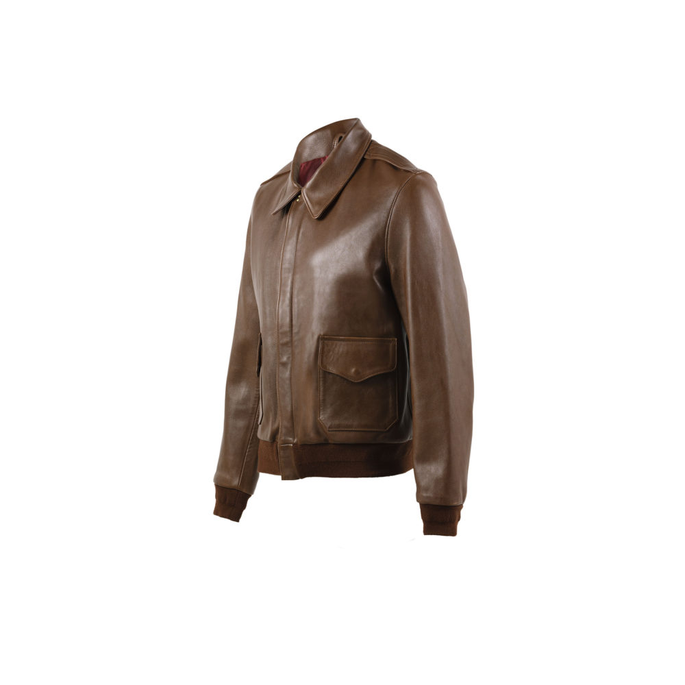 A2 Jacket - Glossy leather - Brown color