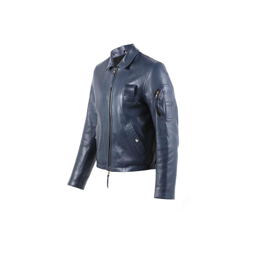 Pilote Français Jacket - Glossy leather - Blue color