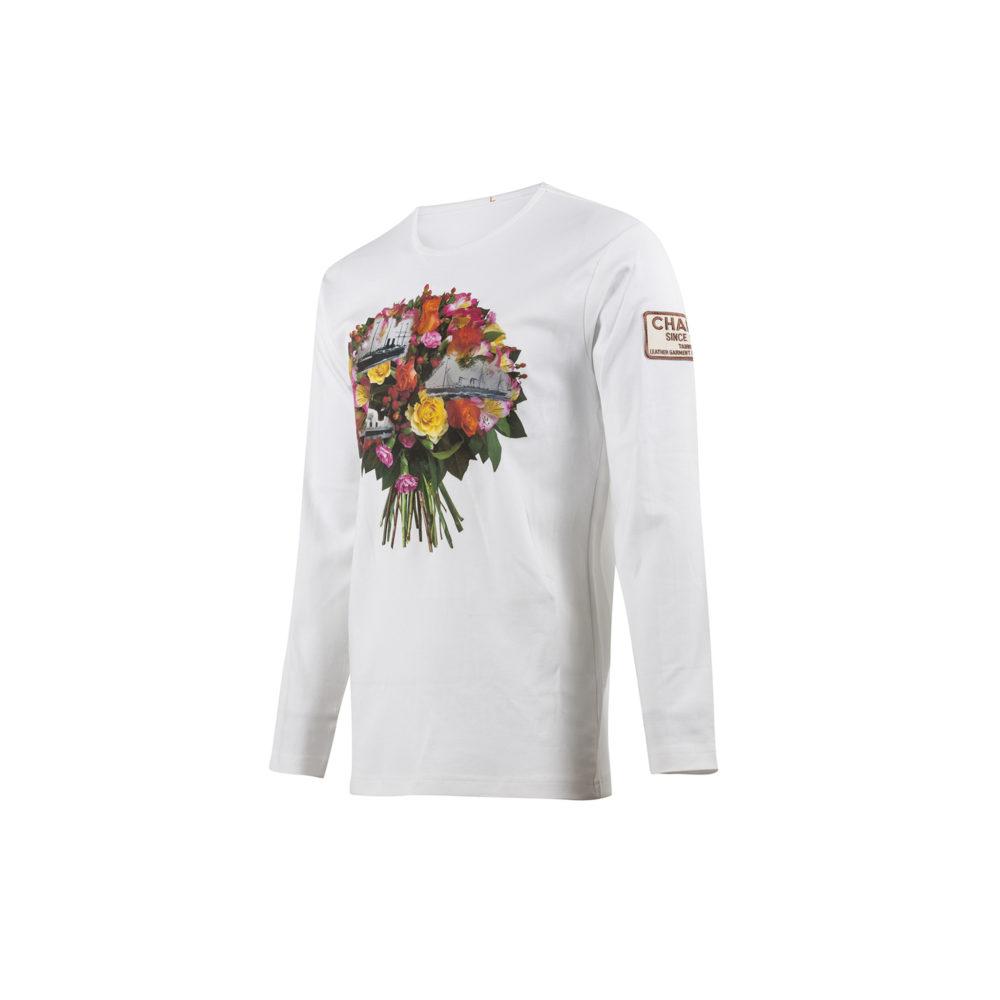 T-shirt Fleurs - Jersey de coton - Couleur blanc